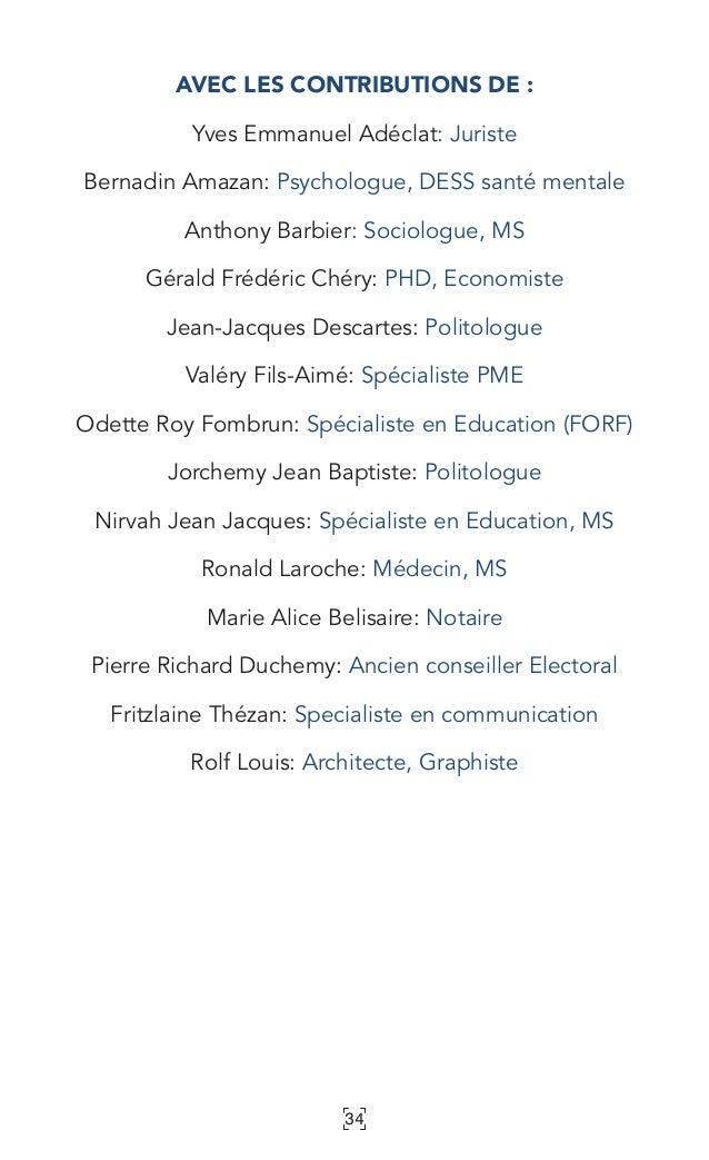 34 AVEC LES CONTRIBUTIONS DE: Yves Emmanuel Adéclat: Juriste Bernadin Amazan: Psychologue, DESS santé mentale Anthony Bar...