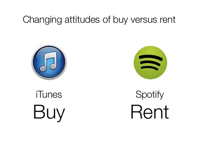 @usabilitycounts #uxss Changing attitudes of buy versus rent iTunes Buy Spotify Rent