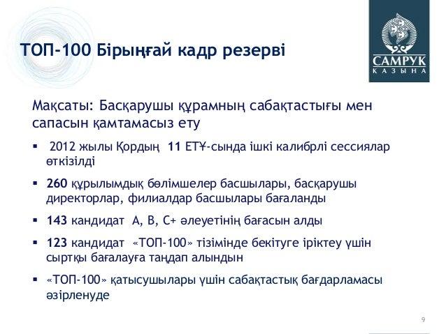 ТОП-100 Бірыңғай кадр резерві Мақсаты: Басқарушы құрамның сабақтастығы мен сапасын қамтамасыз ету  2012 жылы Қордың 11 ЕТ...