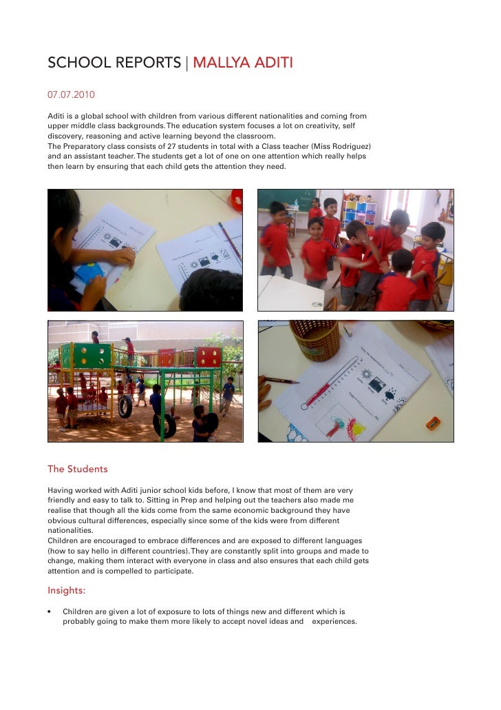 SCHOOL REPORTS | MALLYA ADITI 07.07.2010  Aditi is a global school with children from various different nationalities and ...