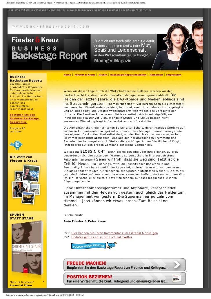 Business-Backstage-Report von Förster & Kreuz | Vordenker einer neuen ...irtschaft und Management | Leidenschaftlich. Kämp...