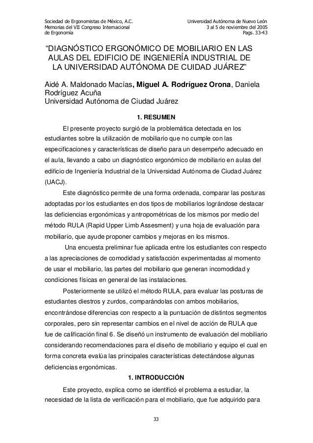 Sociedad de Ergonomistas de México, A.C. Memorias del VII Congreso Internacional de Ergonomía  Universidad Autónoma de Nue...