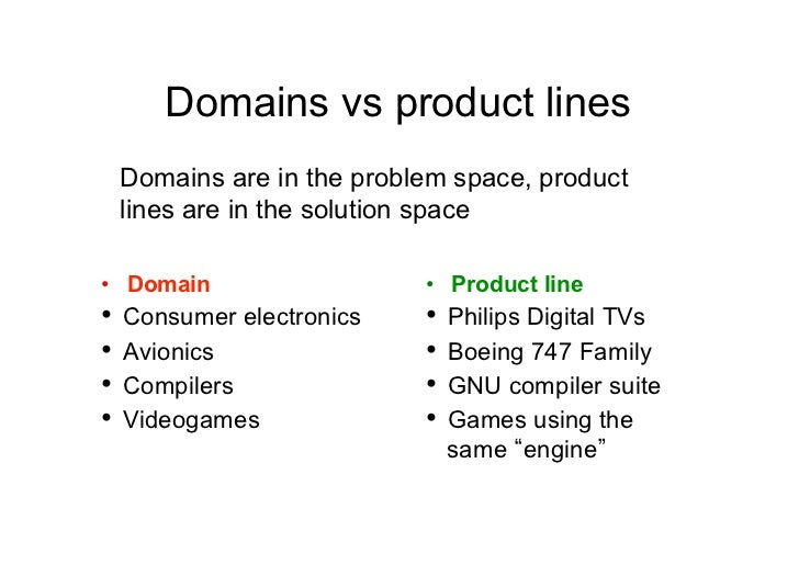 Domains vs product lines Domains are in the problem space, product lines are in the solution space• Domain               ...