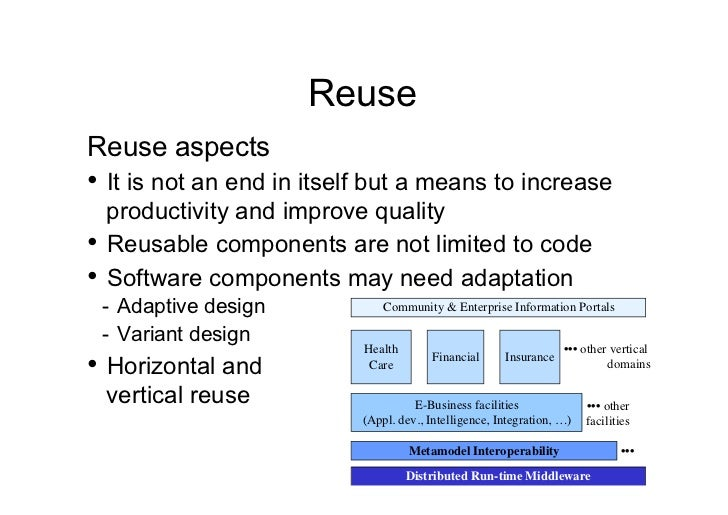 ReuseReuse aspects• It is not an end in itself but a means to increase   productivity and improve quality• Reusable comp...