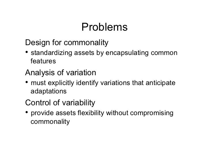 Product Lines and UML    Domain Analysis             Problem Analysis              Solution Analysis                      ...