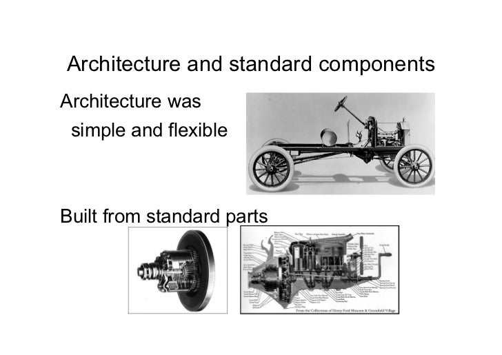 Architecture and standard componentsArchitecture was simple and flexibleBuilt from standard parts