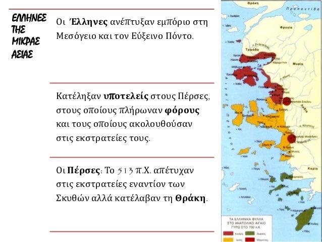 ΕΛΛΗΝΕΣ ΤΗΣ ΜΙΚΡΑΣ ΑΣΙΑΣ Οι Έλληνες ανέπτυξαν εμπόριο στη Μεσόγειο και τον Εύξεινο Πόντο. Κατέληξαν υποτελείς στους Πέρσες...