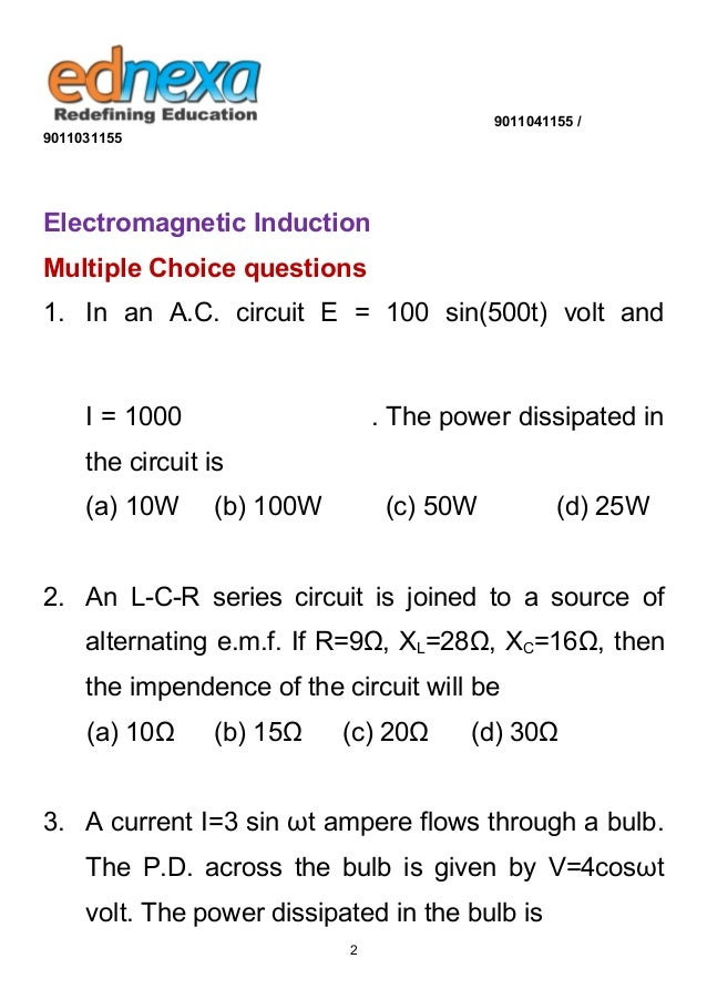 12th Physics - Electromagnetic Induction MCQ's with Solution Slide 2