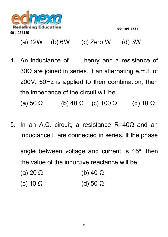 12th Physics - Electromagnetic Induction MCQ's with Solution Slide 3