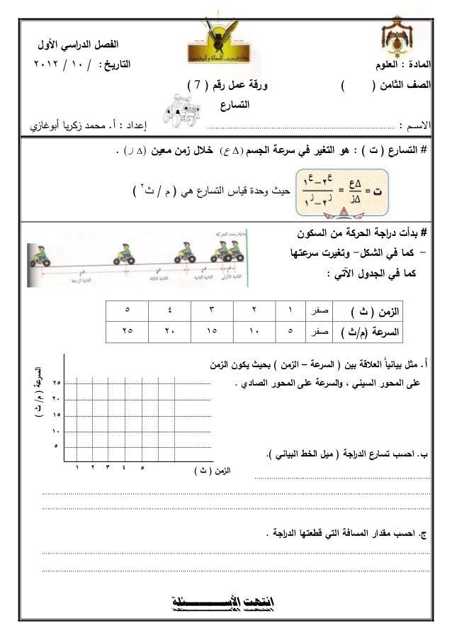 الفصل الد اسي األول               ر   التاريخ : / 10 / 2012                                                         ...