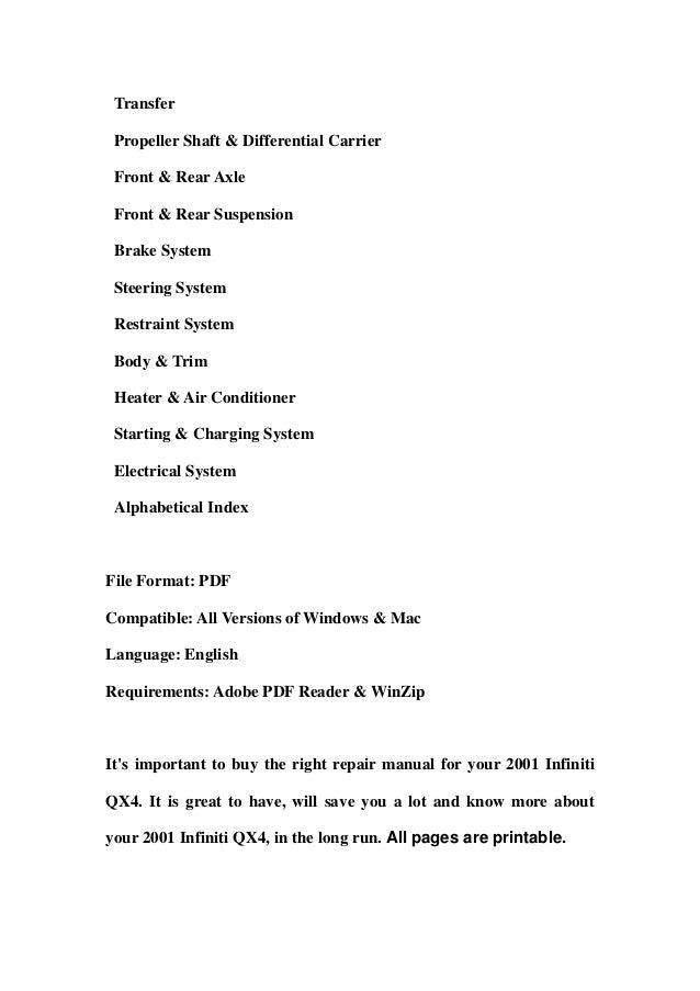 2001 infiniti qx4 service manual pdf