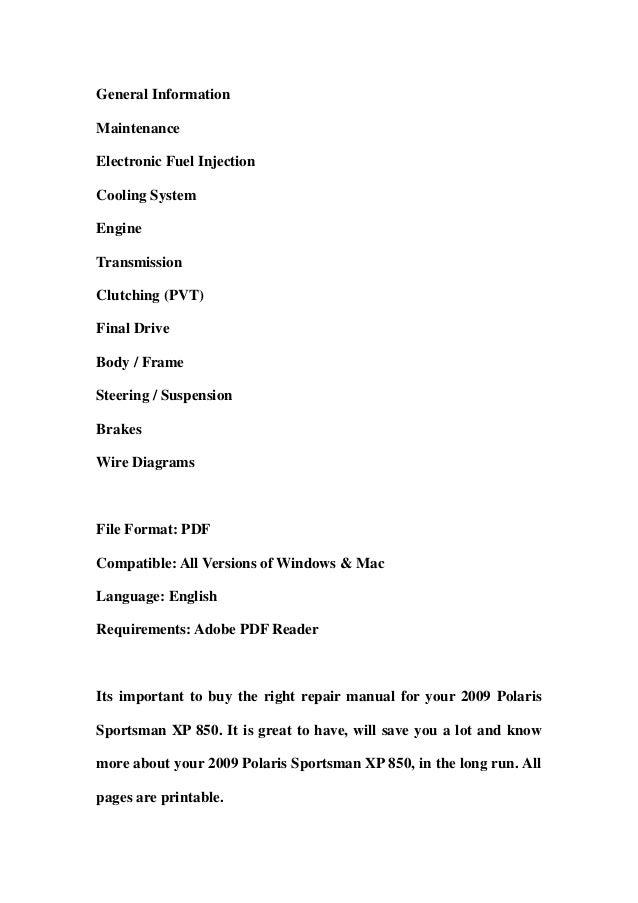 2009 polaris sportsman xp 850 service repair workshop manual download rh slideshare net 2013 polaris sportsman 850 xp service manual polaris sportsman 850 repair manual
