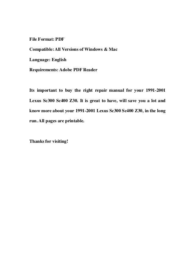 lexus sc400 repair manual