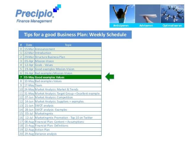 Tips for a good Business Plan: Weekly SchedulePrecipioFinance ManagementAnticiperen Adviseren OptimaliserenAnticiperen Adv...
