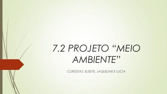 "7.2 PROJETO ""MEIO AMBIENTE"" CURSISTAS: ELISETE, JAQUELINE E LUCIA"