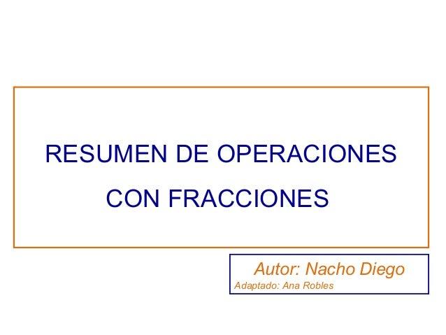 RESUMEN DE OPERACIONES CON FRACCIONES Autor: Nacho Diego Adaptado: Ana Robles
