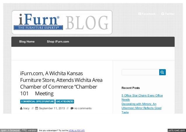  Facebook  Blog Home  Shop iFurn.com  iFurn.com, A Wichita Kansas Furniture Store, Attends Wichita Area Chamber of Commer...
