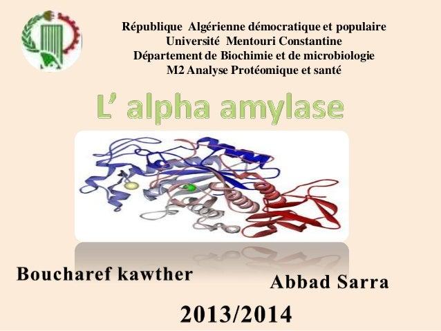 République Algérienne démocratique et populaire Université Mentouri Constantine Département de Biochimie et de microbiolog...
