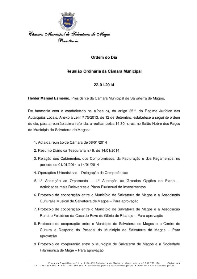 Câmara Municipal de Salvaterra de Magos Presidência Ordem do Dia Reunião Ordinária da Câmara Municipal 22-01-2014 Hélder M...