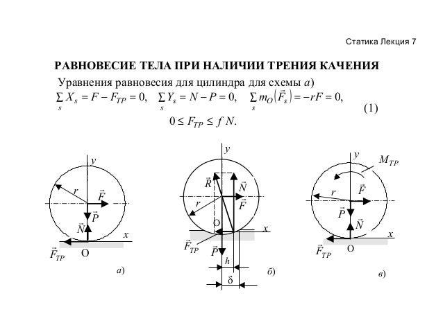 Статика Лекция 7  РАВНОВЕСИЕ ТЕЛА ПРИ НАЛИЧИИ ТРЕНИЯ КАЧЕНИЯ Уравнения равновесия для цилиндра для схемы а)  X s = F − FT...