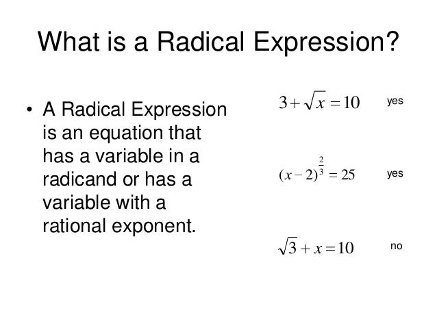 7.7 Solving Radical Equations