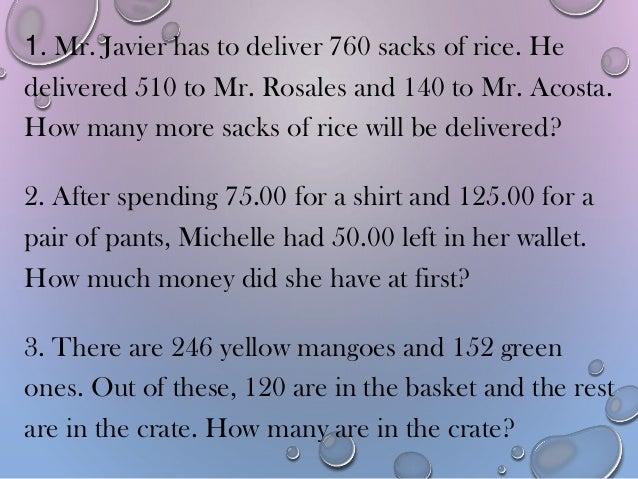 problem solving involving subtraction