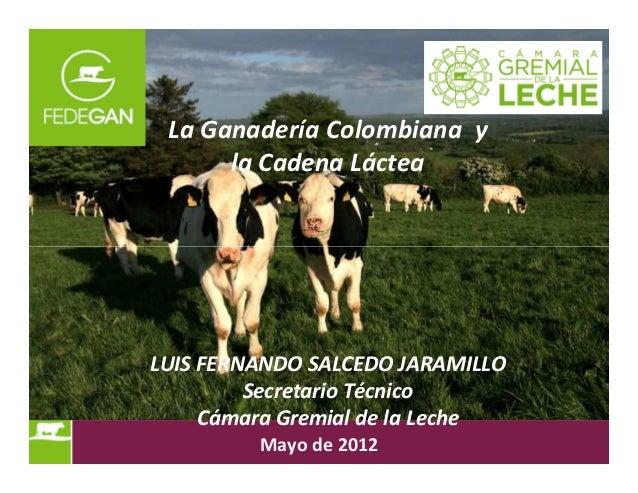 La Ganadería Colombiana y la Cadena Láctea LUIS FERNANDO SALCEDO JARAMILLO Secretario Técnico Cámara Gremial de la Leche M...