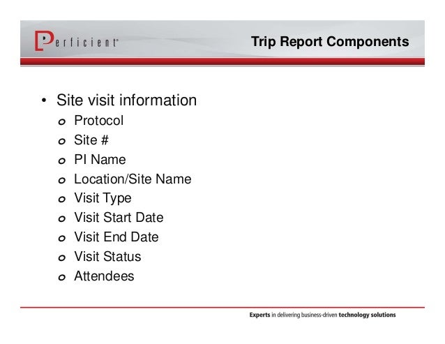 Optimizing Siebel CTMS with Electronic Trip Reports – Trip Report Template Example