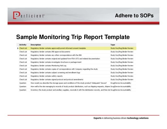 Optimizing siebel ctms with electronic trip reports adhere to sops sample monitoring trip report template friedricerecipe