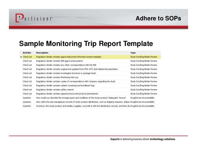 Adhere To SOPs Sample Monitoring Trip Report Template ...