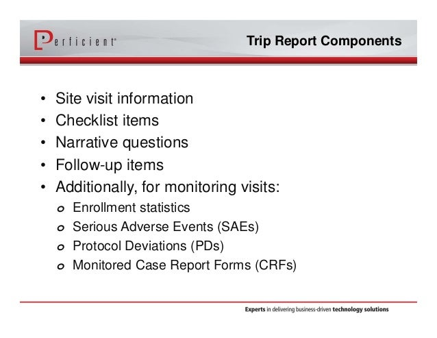 Optimizing Siebel CTMS with Electronic Trip Reports – Trip Report Template