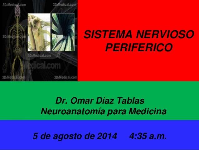 8/5/2014 Dr. Omar Diaz Tablas 1 SISTEMA NERVIOSO PERIFERICO Dr. Omar Díaz Tablas Neuroanatomía para Medicina U.N.A.H 5 de ...
