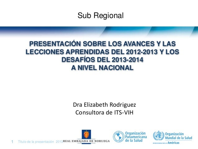 Centro América (CA) Dra. Elizabeth Rodríguez, Consultora Internacional en VIH/ITS para Centro América, OPS/ELS