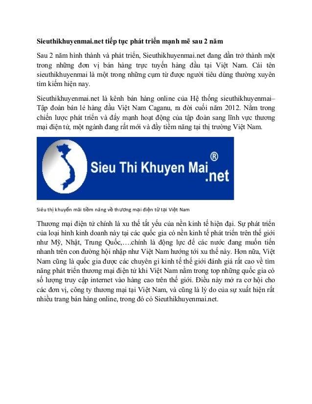Sieuthikhuyenmai.net tiếp tục phát triển mạnh mẽ sau 2 năm  Sau 2 năm hình thành và phát triển, Sieuthikhuyenmai.net đang ...