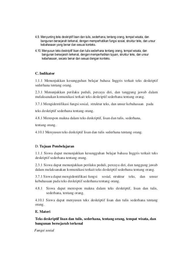 Rpp Bahasa Inggris Teks Deskriptif Kelas X Kurikulum 2013