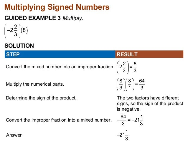 Multiplying Signed Numbers  GUIDED EXAMPLE 3 Multiply.  SOLUTION  STEP RESULT  Convert the mixed number into an improper f...