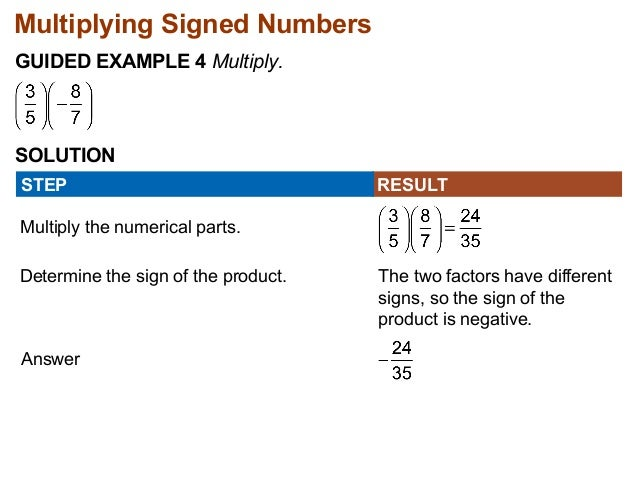 Multiplying Signed Numbers  GUIDED EXAMPLE 4 Multiply.  SOLUTION  STEP RESULT  Multiply the numerical parts.  Determine th...