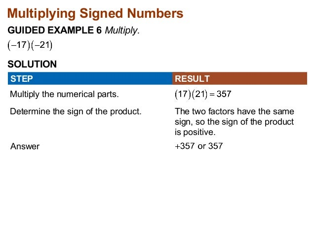 Multiplying Signed Numbers  GUIDED EXAMPLE 6 Multiply.  SOLUTION  STEP  Multiply the numerical parts.  RESULT  Determine t...