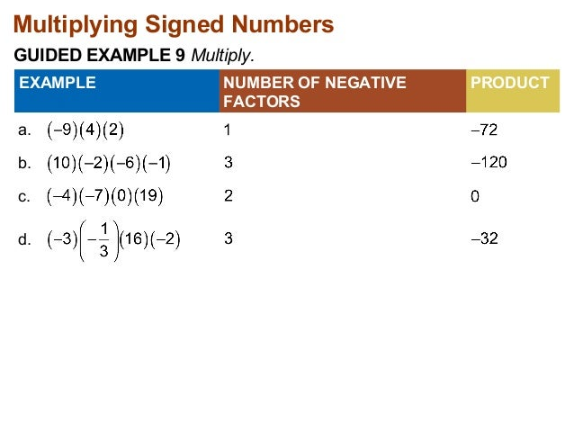 Multiplying Signed Numbers  GUIDED EXAMPLE 9 Multiply.  a.  NUMBER OF NEGATIVE  FACTORS  EXAMPLE PRODUCT  b.  c.  d.