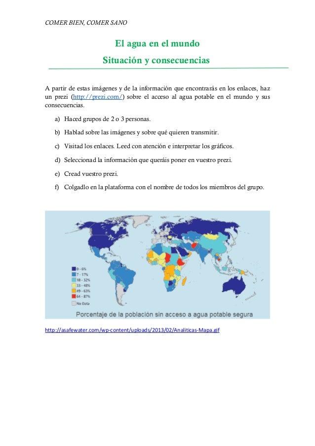COMER BIEN, COMER SANO  El agua en el mundo  Situación y consecuencias  A partir de estas imágenes y de la información que...