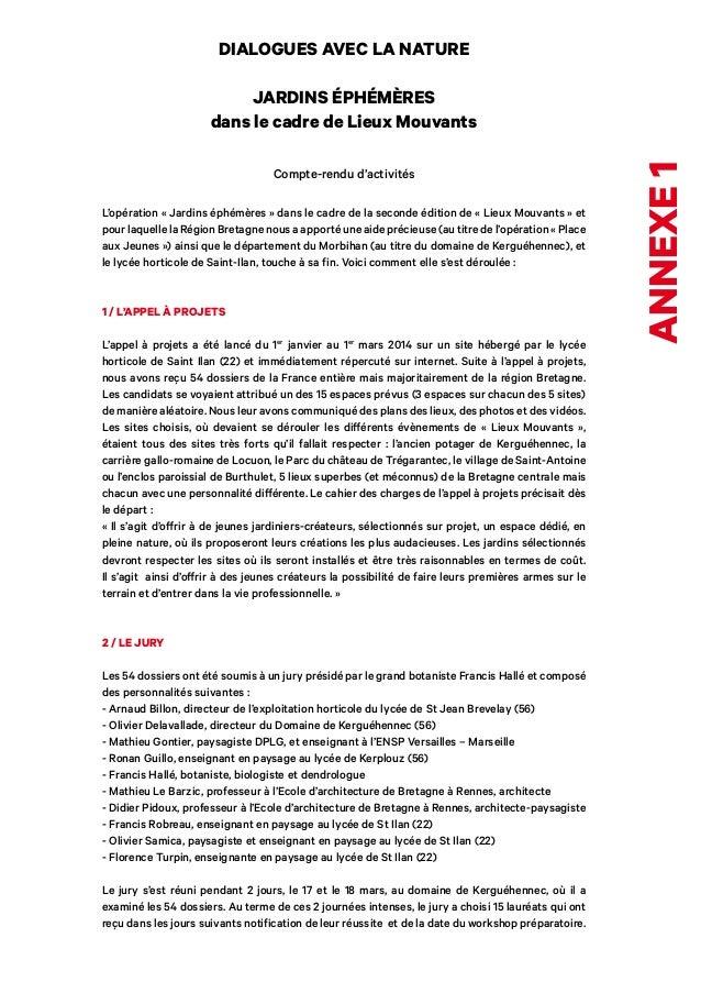 annexe 1  DIALOGUES AVEC LA NATURE  JARDINS ÉPHÉMÈRES  dans le cadre de Lieux Mouvants  Compte-rendu d'activités  L'opérat...