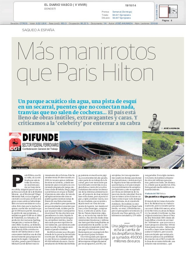 EL DIARIO VASCO ( V VIVIR) 19/10/14  DONOSTI  Prensa: Semanal (Domingo)  Tirada: 68.441 Ejemplares  Difusión: 58.487 Ejemp...