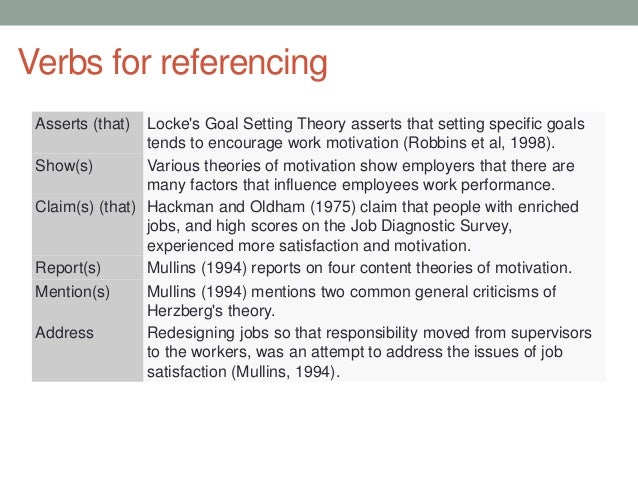 verbs for referencing literature review