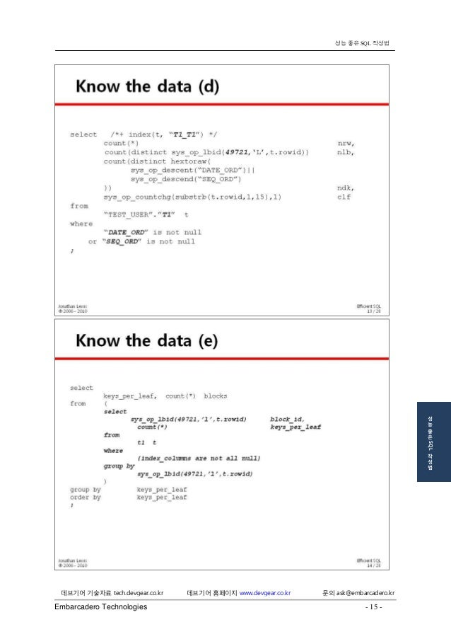 Embarcadero Technologies - 15 -  데브기어 기술자료 tech.devgear.co.kr 데브기어 홈페이지 www.devgear.co.kr 문의 ask@embarcadero.kr  성능 좋은 SQL...