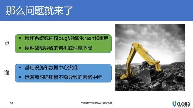 10  中国最为领先的云计算服务商  那么问题就来了  操作系统或内核bug导致的crash和重启  硬件故障导致的宕机或性能下降  基础设施和数据中心灾难  运营商网络质量不稳导致的网络中断  点  面