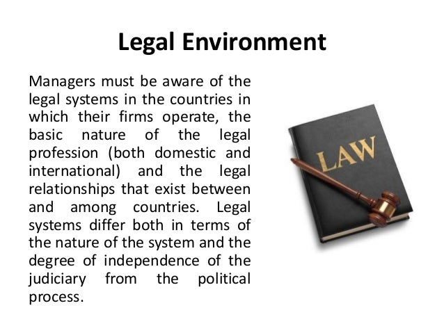 the legal environment of business Legal environment of business ---it is essential for future business leaders and entrepreneurs to have an understanding of the role of the law and legal risk in.