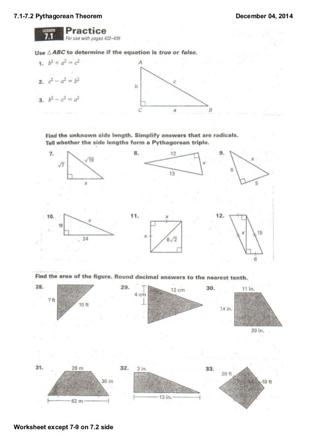 71 72 notes – Pythagorean Theorem Worksheet Answers
