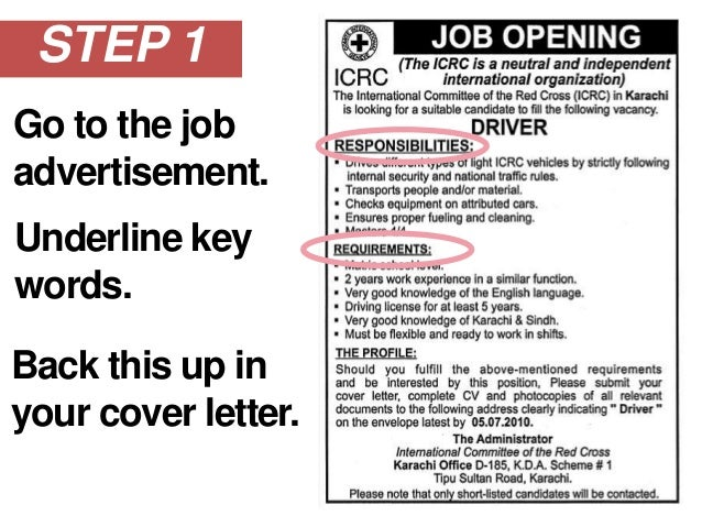 COVER LETTER! LETu0027S WRITE THAT; 5. STEP 1 Go To The Job Advertisement.  A Cover Letter Is An Advertisement