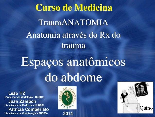 Curso de Medicina TraumANATOMIA Anatomia através do Rx do trauma Espaços anatômicos do abdome 2014 Leão HZ (Professor de M...