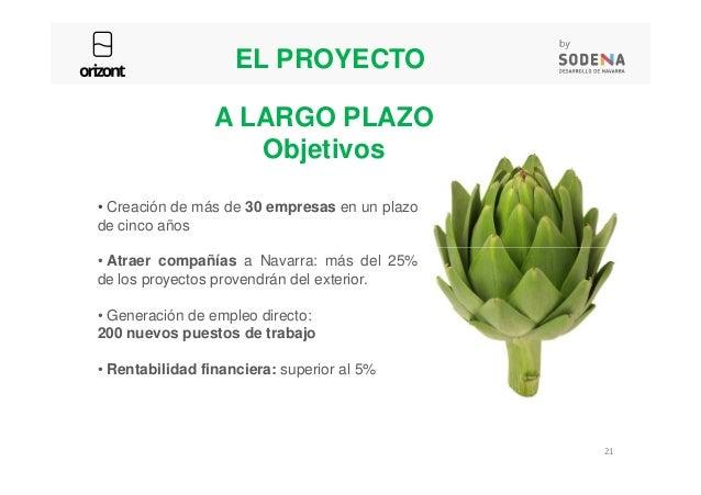 • Creación de más de 30 empresas en un plazo de cinco años A LARGO PLAZO Objetivos EL PROYECTO • Atraer compañías a Navarr...